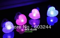 FreeShip 50pcs Adjustable Led Crystal Heart Ring Light Up Flash Glow Flash Ring Disco Party Finger Lights In Nice Box
