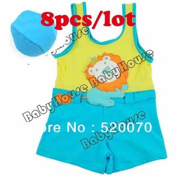 8pcs/lot 2014 Free shipping New baby clothing/ Children swimwear/ Kids Boys Swimsuits Vest + Swimming Cap Set 1-7Y Years 14193