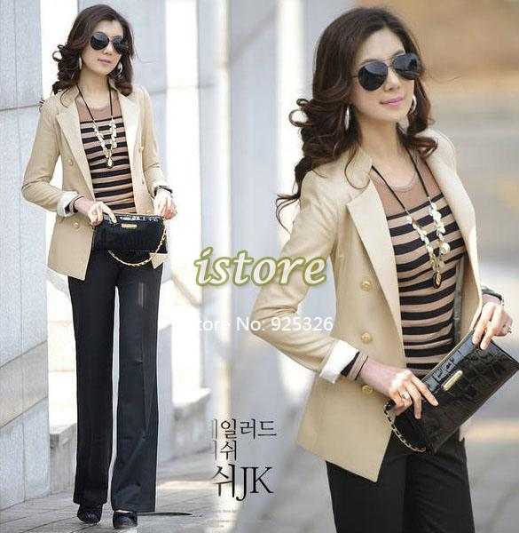 2013 new elegant fashion Double-Breasted OL style long sleeve jacket coat women blazer Suit Apricot Black M/L(China (Mainland))