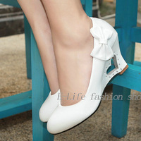 Women Leather Shoes /New style Lady Shoes 2013 Free Shipping Big size Casual bowtie Patent Leather wedges high heel shoes wome