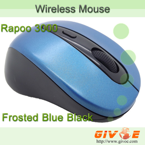 Frosted Blue Black Rapoo Wireless Mouse 3000 Blu Ray 2.4G Computer Mouse Mini Portable Mice with Nano Receiver Free Shipping(China (Mainland))