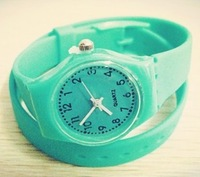 mini hot sale long band silicone girl sports watch bracelet mint green female jelly clock drop shipping