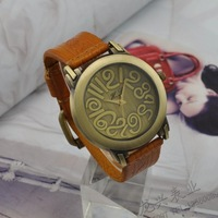 Free Shipping New arrival brief cowhide genuine leather watchband watch ladies watch vintage women's watch vintage  2013 fashion