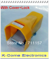 """With Cover + Lock 1/4"""" Inlet Outlet Port 5 Way 2 Position Air Pneumatic Foot Pedal Valve 2/5 Way Free Shipping"""