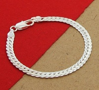 JB113   Wholesale Price,  Loose Money Free shipping silver Fashion jewelry / 925 Silver SNAKE  chains Bracelet  for men, women