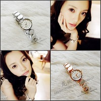 Free Shipping Quality fashion white dot elegant bracelet watch women's watch meters millet gold  2013 fashion