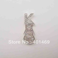 Free shipping metal crystals initial charm buckle accessories