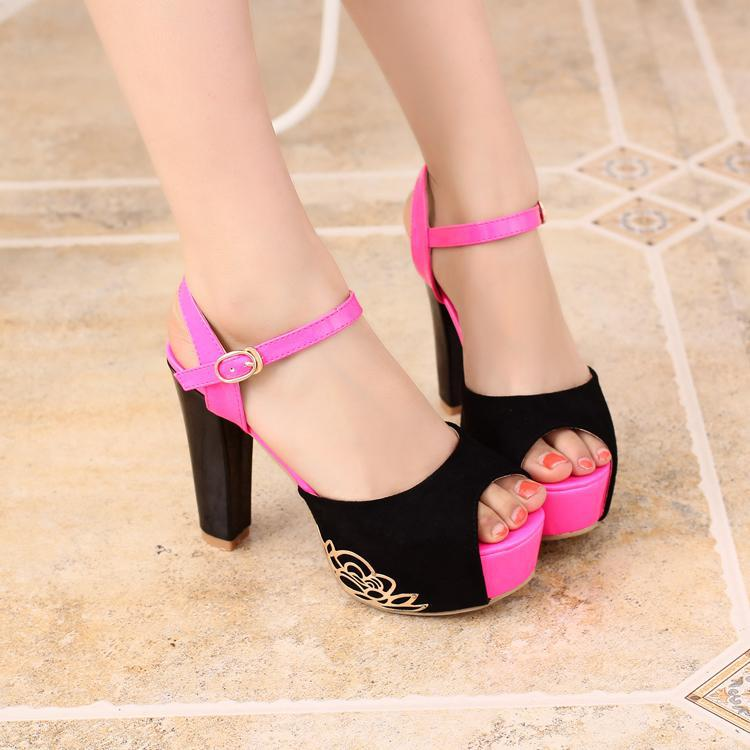 New hot sexy rivet velvet platform ultra high heels women sandals women&#39;s summer shoes(China (Mainland))