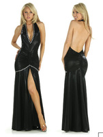 Deep V-Neck Big Black Diamond long Prom Dress With Sleeve Karen Dress With  Beaded Long  Cocktail Dress 1 Piece Genie YK795