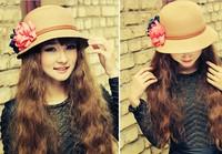 F05277 Woman Summer Big Flower Short Brim Dome Straw Braid Beach Sun Hat Cap Sunbonnet Bucket hat + Free Shipping