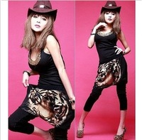 2013 spring big crotch pants tiger head printed loose harem pants hip-hop punk hanging crotch pants women's     tp309