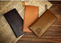 promotion! 2013 fashion designer the men real genuine leather wallet pocket card clutch billfolds men purse brown/coffee/kakhi