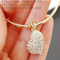 Free shipping min order is $10  accessories women's brief full rhinestone heart cutout carved bracelet female