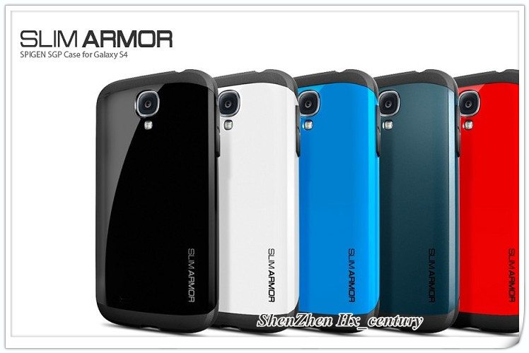 SLIM ARMOR SPIGEN SGP case for Samsung galaxy s4 SIV i9500 + Retail Package,MOQ:100pcs, DHL Free shipping, 2017(China (Mainland))