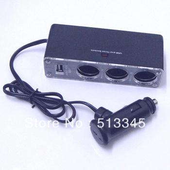 3 Ways Car Lighter Cigarette Charger Socket USB Port  free shipping