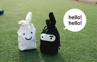 Free Shipping Wholesale White Balck Ninja Rabbit Travel Pouch For Lunch Fold Storage Bag pen bags Cosmetics pouch 50pcs/lot