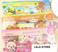 2013 new arrival novelty stationery cute kawaii  rilakkuma pencil bag machanical pencil+eraser...8in1 set kit freeshipping
