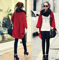 Autumn Winter New Fashion Knitted Sweater Women Loose Plus Size Long Cardigan Bat Shirt Coat Black / Grey / Red