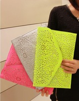 2013 Fashion Neon Color Stereo Cutout Clutch fashion Day Clutches Women's Multi-purpose Handbag Free Shipping Wholesale