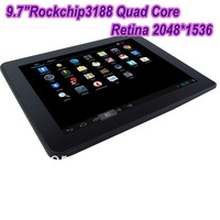 New Retina 9.7inch Rockchip3188 1.8Ghz Quad Core 2GB RAM 2048*1536pixels 8000MAH MID Tablet PC HDMI port Ducal camera