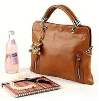 NEW Woman's Brown PU Leather Small Handbag Brass Grommet Bag Zipper Totes + free shipping VB188