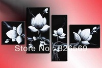 hand-painted wall art fly In black white flowers home decoration Landscape oil painting on canvas 4pcs/set  mixorde