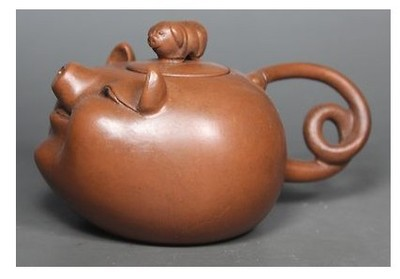 Chinese Old Purple Clay Wonderful Handwork Lovely Pig Tea Pot / Free Shiping(China (Mainland))