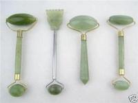 4PC green jade massage head neck face foot roller tool   / Free Shiping