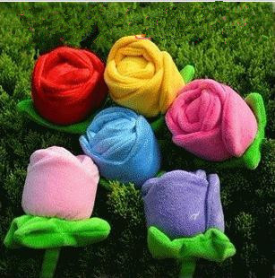Colorful roses flower plush toys simulation massage massage stick to knock back a hammer 5 colors 35cm