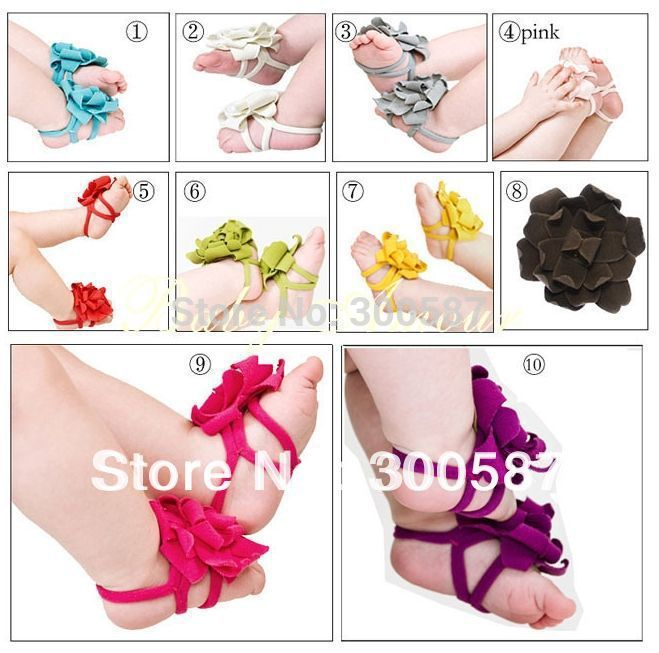 Wholesale 2013 BABY Sandals baby Barefoot Sandals Foot Flower Foot Ties girls Toddler flower Shoes(China (Mainland))