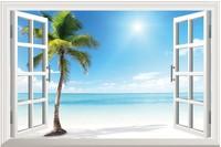 Landscape HD Pattern  fake windows sticker 120*80cm sofa backdrop  pvc  art  art mural home decor Removable wall sticker  HG-9