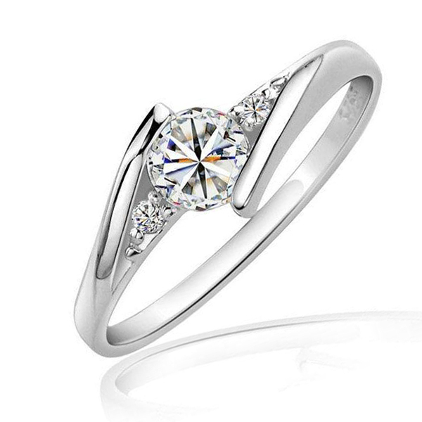 Ms. Max Milan high simulation sub- diamond ring diamond ring ring sterling silver minimalist atmosphere(China (Mainland))