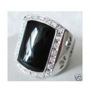 Tibet Silver Black Jade Men's Ring 9 # 10 # 11 # / Free Shiping