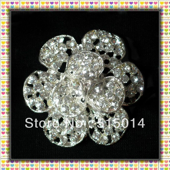 Free Shipping ! 52mm Flower Rhinestone Brooch With Pins in Rhodium Plated , Bouquet Brooches Price Negotiable For Large Order(China (Mainland))