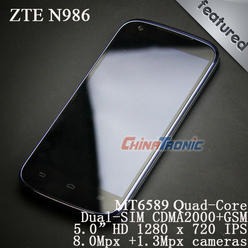 New Arrival Original ZTE N986 MTK6589 Quad-core 1.2G Android 4.2 5.0&quot;HD 1GB RAM+4GB ROM Dual-SIM CDAM2000+GSM Free Gift(China (Mainland))