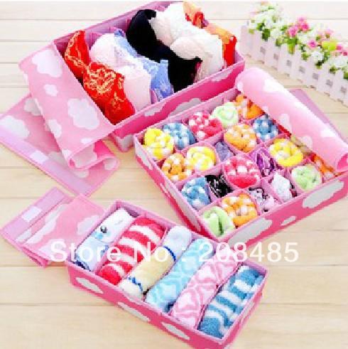 3Pcs A Set Foldable Box Bamboo Charcoal Fibre Storage Box For Bra Underwear Necktie Socks Retail & Wholesale Free Shipping(China (Mainland))