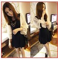 2013 Fashion Style summer women's slim patchwork chiffon dress Black Color Best Price