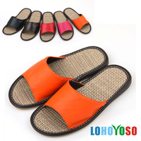 Natural linen home slippers leather slippers summer at home cow muscle slip-resistant outsole slippers