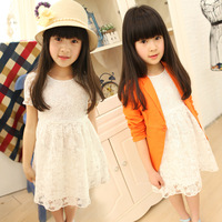 2013 children's clothing girls lace dress, kids flower dress Hollow + cute belt design ,size110-165  best for sweet girl