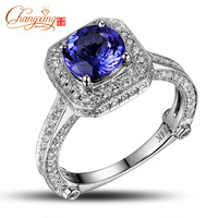 Wholesale 14K Gold Natural Diamond Round 1.65ct Tanzanite Ring Resizable Weight 4.57g Free Shipping