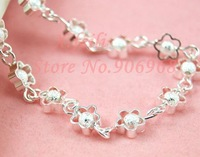 Free shipping Hot sale 925 silver plated charm bracelet Factory Price silver jewelry new fashion wholesale jewelry flower love
