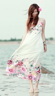 2013 free shipping new arrival hot sale 1257 bohemia romantic camellia vacation of spaghetti strap full dress(China (Mainland))
