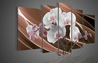 wall art Shining white peach blossom home decoration abstract Landscape oil painting on canvas 5pcs/set mixorde