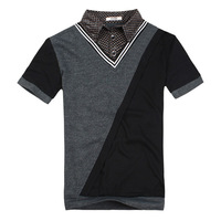 2013 summer men's clothing turn-down collar male t-shirt male short-sleeve t-shirt plus size spring color block decoration