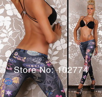 2014 New arrival sexy Flowers Jeans For Women Leggings high quality cheap price H21
