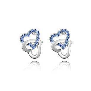 wholesale 605 Korean jewelry fashion to heart earrings - tie the knot Multicolor Select lowest free shipping(China (Mainland))