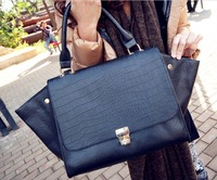 Free Shipping!!!   Whoesale Woman Western   Crocodile Bat  Tote  Handbag , Big Bag  #W00009