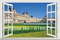 window  scenery Famous building  window sticker 105*70cm   sofa background pvc  art sticker jz-7