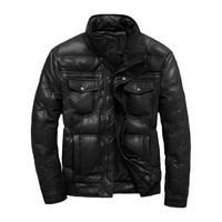 Short in size faux leather PU male short design down coat men's clothing plus size outerwear clothes