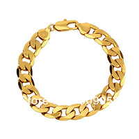 Free Shipping Good Quality -- 24Kgp Gold Plated 12mm MEN Bracelet Link Chain Bracelett!! (Size: 12mm x 230mm)!!
